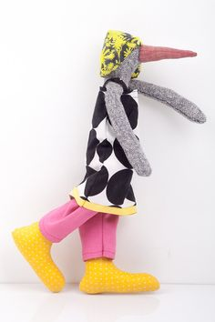 Funky Plush Bird Doll gray duck stuffed doll in by TIMOHANDMADE