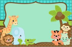 Etiqueta animalitos Jungle Theme Parties, Safari Theme Party, Jungle Party, Zoo Birthday, First Birthday Party Themes, Animal Pictures For Kids, Baby Girl Scrapbook, Baby Painting, Baby Boy Shower