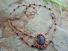 Eclipse Necklace - Copper And Silver Obsidan, with black Onyx and faceted Mookaite