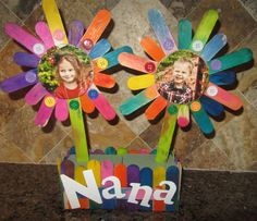 Mother's Day or grandparents day craft. (For kids church hot glue all the sticks together prior to class then let them paint the entire piece. Also use just 1 foam block per kids and print pics grayscale on cardstock from the office printer that morning.)