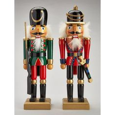 Wooden Nutcracker Soldiers Christmas Decorations (2 Pack) (720 CZK) ❤ liked on Polyvore featuring home, home decor, holiday decorations, wooden nutcracker, wooden soldier nutcracker, wooden figurines, wood figure and wood nutcracker