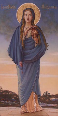 Orthodox icon of saint Mary the Magdalene Catholic Art, Catholic Saints, Religious Art, Sacred Feminine, Divine Feminine, Mary Of Bethany, Mary Magdalene And Jesus, Santa Maria Magdalena, Images Of Mary