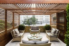 Gilberto Elkis While early with concept, this pergola continues to be encountering somewhat of a Backyard Gazebo, Backyard Garden Design, Outdoor Pergola, Outdoor Seating, Patio Design, Backyard Landscaping, Outdoor Spaces, Outdoor Living, Outdoor Decor