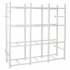 "With cubby space for twelve storage bins, this convenient shelving system comes with wall-mounting hardware.  Product: Storage systemConstruction Material: PVC and steelColor:  WhiteDimensions: 69"" H x 68"" W x 27.5"" DNote: Bins not included"