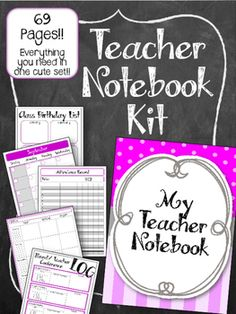 This Teacher Notebook Kit has everything you need to make a complete PURPLE AND GREY teachers notebook! EVERYTHING you need grade book, lesson plan, contact list. And more!! All in one cute notebook.  I use mine in an Arc Notebook system (from staples)...