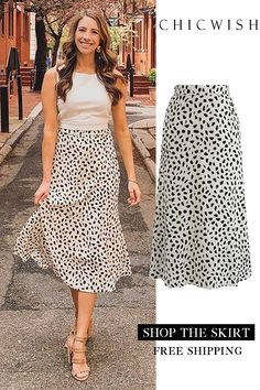 Chic Spot Chiffon Skirt on sale - Wear to Work Outfits Mode Outfits, Chic Outfits, Summer Outfits, Fashion Outfits, Vestidos Vintage, Chiffon Skirt, Unique Fashion, Dress To Impress, Style Me
