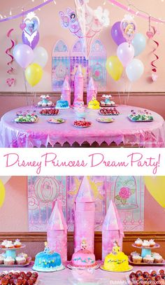 a mama report feature disney princess dream party celebration.The Best Disney Birthday Party Disney Princess Birthday Party, Princess Theme Party, Cinderella Party, Princess Party Snacks, Princesse Party, Princess Party Decorations, Wall Decorations, Birthday Decorations, 4th Birthday Parties