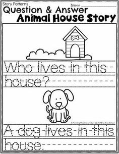 Kindergarten Writing Worksheets - Question and Answer Animal House Story pg 2 #planningplaytime #kindergartenworksheets #writingworksheets #kindergartenwriting