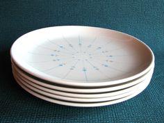 Five MidCentury Knowles by Kalla  Pinwheel Dinner Plates