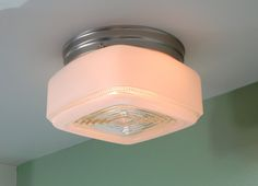 Mid Century Flush Mount Vintage Glass Shade with New Satin Nickel Fixture Base Sold