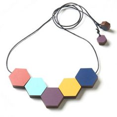 Wooden Block Colour Beads - rainbow/charcoal