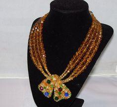 Vintage Coppola E Toppo Crystal Necklace Designer Signed Jewelry 1930s 1940s #CoppolaeToppa