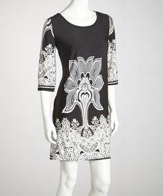 Take a look at this Black Three-Quarter Sleeve Dress by Ella Samani on #zulily today!