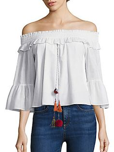 MISA Los Angeles Alma Off-the-Shoulder Cropped Top