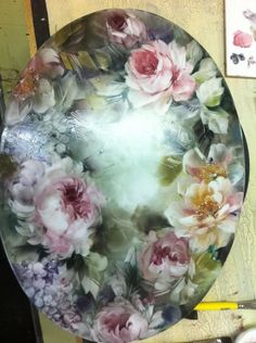 This is hand painted. I wish I had this talent. This is so beautiful!!!