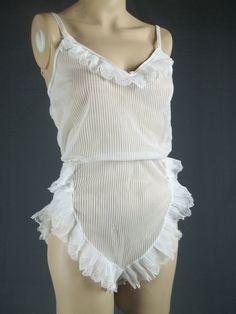 sheer nylon teddy formfit vintage bodysuit frilly by ehappy