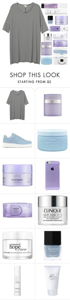 """WATCHING EVERY STEP"" by constellation-s ❤ liked on Polyvore featuring Monki, Kate Somerville, NIKE, Nikon, Aveda, Alterna, Clinique, philosophy, Butter London and This Works"