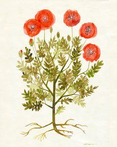 "Red Poppies Print 8""x10"" - Autumn Flower Wall Art, Botanical Fall Artwork, Poppy Art"