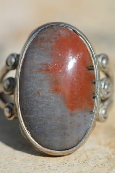 Vintage Navajo Hand Wrought Sterling Silver Raindrop Petrified Wood Ring 6 1 2 | eBay