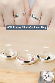 The Cat Paws Ring is handmade from Sterling Silver, and its lovely design will be sure to bring a smile to any cat lover. Four colors available. Get Yours Here http://owlj.com