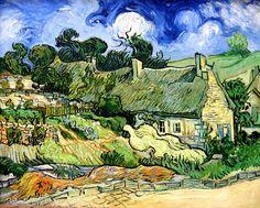 Vincent van Gogh - Thatched Cottages at Cordeville - Oil on canvas - Auvers-sur-Oise June 1890 - Paris: Musée d'Orsay or D'Orsay Museum Paris --- JohnBrody.com