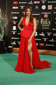 Bipasha Basu looked red hot in a red Gauri and Nainika gown. Full points to her! (Source: AP) - Provided by Indian Express Slideshows