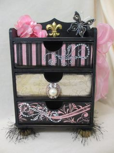 Ornate PINK and Black Jewelry Trinket Treasure Chest of Drawers DRESSER Wooden Box Diva Bling Damask Upcycled Wood OOAK on Etsy, $49.00