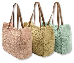 "Scalloped Pastel Crochet Bag, $49/sale$39. A pretty woven-straw handbag is highlighted by a feminine scalloped crochet design. Roomy and easy with plenty of room for stowing all your daily essentials. Faux-leather trim and handles. Snap closure. Cotton lining. Crochet handbag in blue, rose, natural. Imported. SZ: 14""H x 13""W x 6""D. NLA"