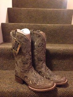 Women's Corral Boots Brown Crater Bone Inlay Studs Square Toe | eBay