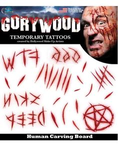 If you need to add the finishing touch to your next costume then look no further then these frighteningly realistic Gorywood Carving Board Faux Tattoos. With Human Carving Board tattoos, find areas on the face or arms that the tattoos best fit. Large Temporary Tattoos, Large Tattoos, Cool Tattoos, Scary Makeup, Fx Makeup, Makeup Stuff, Hollywood Makeup, Carving Board, Original Tattoos