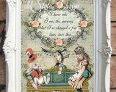 ALICE in WONDERLAND Decor. Art Print. Alice in by OldStyleDesign