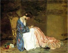 William Wallace Gilchrist Jr (American, 1879-1926) Girl Sewing a Party Dress