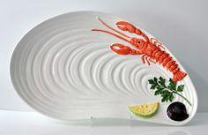 BASSANO KERAMIK Fischplatte  Muschelform 46 cm Hummer Muschel Relief  MEDITERRAN