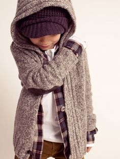 This whole outfit would be great for Spence in fall....cute sweater, hat, plaid flannel, corderoys