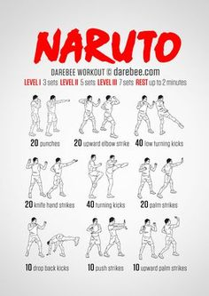 Naruto Workout / What it works: Triceps shoulders intercostal muscles quads front hip flexors side hip flexors lower abs. calves glutes lower back cardiovascular system aerobic system Max). Programe Sport, Naruto Workout, Kick Boxing, Superhero Workout, Full Body Workout Routine, Martial Arts Workout, Kendo, Aerobics, Excercise
