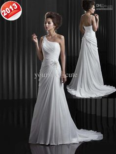 Wholesale Factory Store 2013 Wedding Dresses One Shoulder Empire Chapel Train Pleated Applique Wedding Gowns, Free shipping, $138.88-149.52/Piece | DHgate