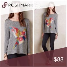 🆕NWT Anthropologie hummingbird sweater 🎁20% off bundles ends today! New with tags! Gorgeous Troubadour brand from Anthropologie heather gray acrylic/wool pullover sweater with colorful watercolor hummingbird on front. Slightly shorter sleeve length, crewneck. Retailed at $138. Price firm. Anthropologie Sweaters Crew & Scoop Necks