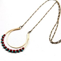 Fab.com | Double Open Moon Necklace, Red   AMiRA Jewelry comes straight from the hands of designer Amira Mednick. Influenced by traditional South American macramé, Mednick learned to knot by hand then concentrated on transforming her skills into bright, right on-trend pieces. Her necklaces, earrings, and bracelets are joyful bursts of handwoven color.