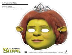 Shrek Photo Booth Props. Print the Free Printable Shrek Masks of Shrek, Fiona, Donkey and Puss in Boots for a fun Shrek Birthday Party.