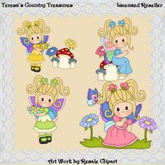 Lil Butterfly #Girls with Blonde Hair #Clipart