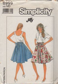 9f4e379d45a2 Simplicity 8999 1980s Misses Jiffy Flirty and Fun Circle Skirt womens  vintage sewing pattern by mbchills