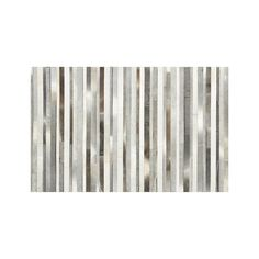 Fonda Grey Striped Cowhide 5'x8' Rug | Crate and Barrel