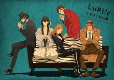 Jigen, Goemon, Fujiko, Lupin, Zenigata