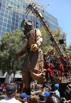 Diver Giant took his first stroll along the streets of Perth's CBD on Saturday as part of this year's International Arts Festival