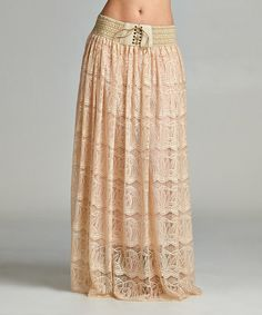 Another great find on #zulily! Champagne Lace Tie-Front Maxi Skirt #zulilyfinds