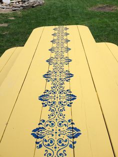 Hand painted picnic table-shabby chic for adding color to my garden