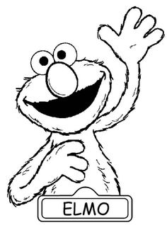 Elmo Greeting Us in Sesame Street Coloring Page: Elmo Greeting Us ...