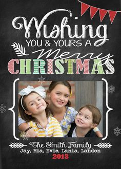 Custom Digital Photo Christmas Card, Chevron Chalkboard Theme & different colors available {P2} on Etsy, $9.95