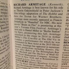 Play Bill bio Richard Armitage (Kenneth) in  #LLLplay ❤️❤️❤️