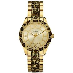 GUESS Gold-Tone Leopard-Print Sparkling Watch ($150) found on Polyvore